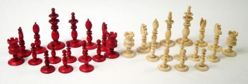 A 19thC white and red stained ivory chess set attributed to Calvert of Fleet Street