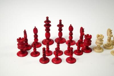 A 19thC white and red stained ivory chess set attributed to Calvert of Fleet Street - 2