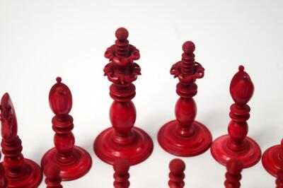 A 19thC white and red stained ivory chess set attributed to Calvert of Fleet Street - 3