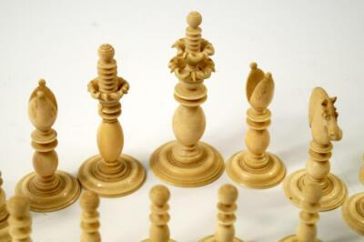 A 19thC white and red stained ivory chess set attributed to Calvert of Fleet Street - 5