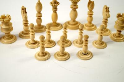 A 19thC white and red stained ivory chess set attributed to Calvert of Fleet Street - 7