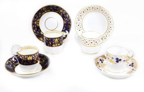 Four early 19thC Derby porcelain coffee cans and saucers