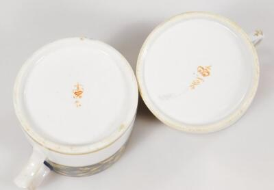 Four early 19thC Derby porcelain coffee cans and saucers - 12