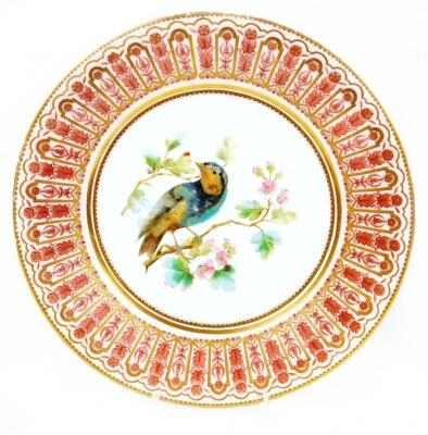 A late 19thC Crown Derby porcelain cabinet plate
