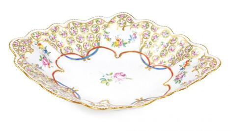 A large 18thC porcelain lozenge shaped centre dish