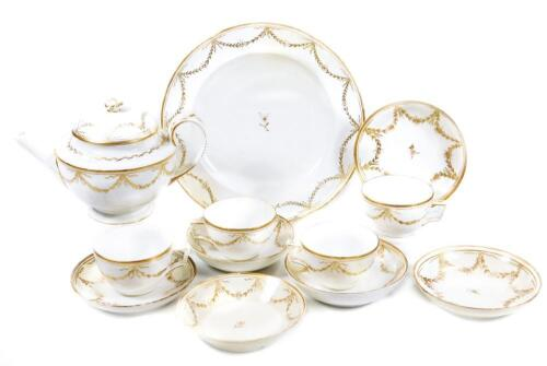 An early 19thC part French porcelain tea set