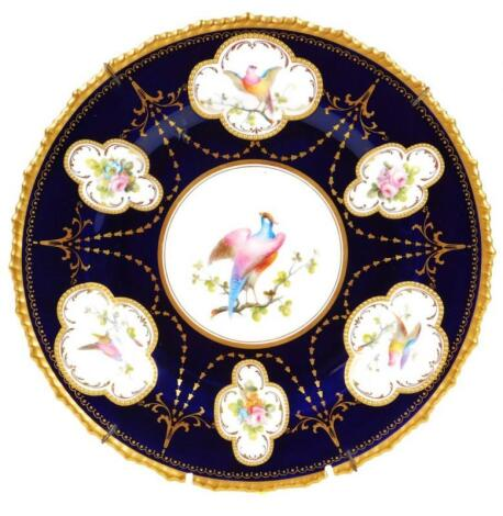 A Royal Crown Derby porcelain cabinet plate