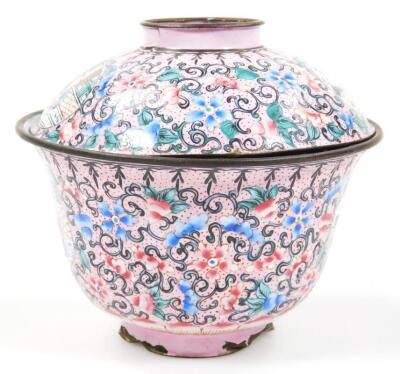 A 19thC cloisonne tea bowl and cover - 2