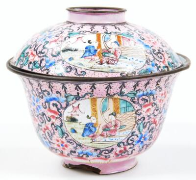 A 19thC cloisonne tea bowl and cover - 3