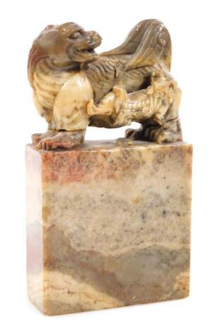 A 19thC Chinese soapstone desk ornament