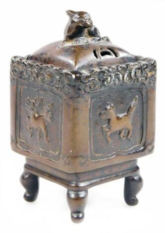 A Chinese bronze censer of square section