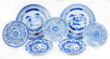 Various Chinese blue and white saucers