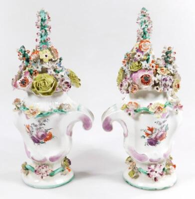 A pair of Longton Hall rococo moulded vases with covers - 8
