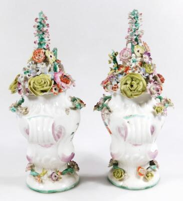 A pair of Longton Hall rococo moulded vases with covers - 9