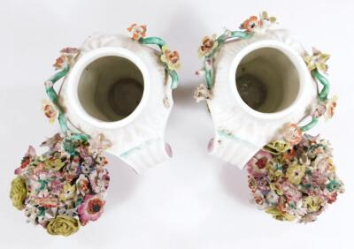 A pair of Longton Hall rococo moulded vases with covers - 10