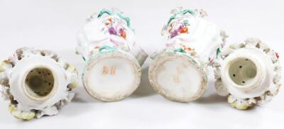 A pair of Longton Hall rococo moulded vases with covers - 11