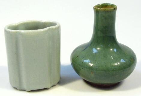 An unusual Ming style green glazed Chinese vase