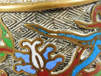 A Chinese brass and champleve enamel cylinder vase and cover - 9