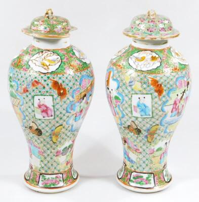 A pair of 19thC Chinese baluster vases and covers - 2