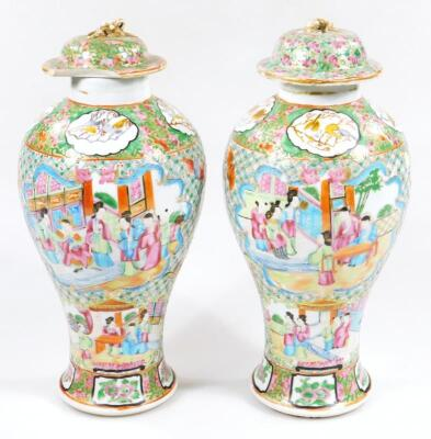 A pair of 19thC Chinese baluster vases and covers - 3