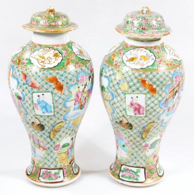 A pair of 19thC Chinese baluster vases and covers - 4