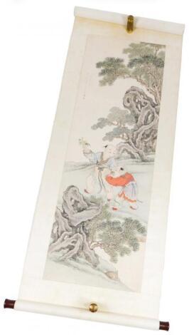 19thC School. Cloth scroll