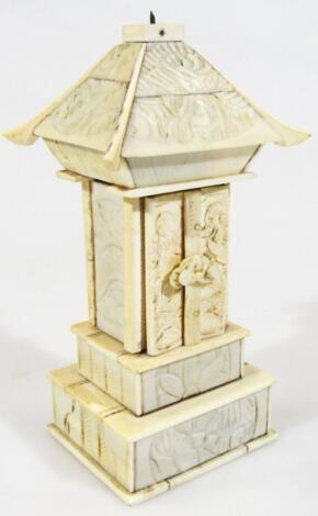 A late 19thC Chinese ivory pagoda