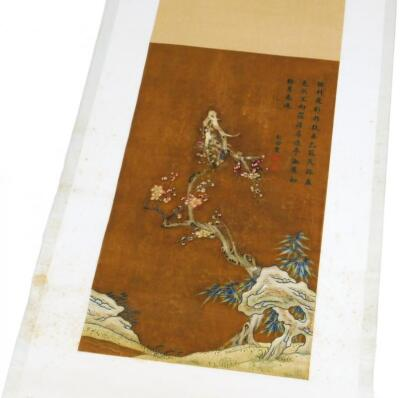 19thC Oriental School. Trees and flowering buds