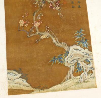 19thC Oriental School. Trees and flowering buds - 3