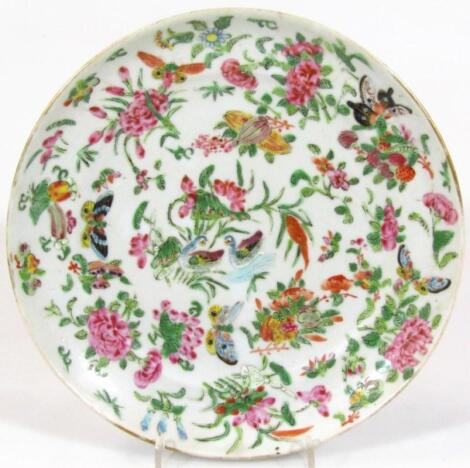 A late 19thC Cantonese famille rose plate