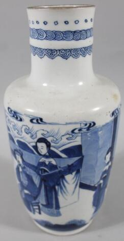 An 18thC Chinese blue and white porcelain vase