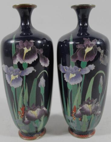 A pair of early 20thC Japanese enamel vases