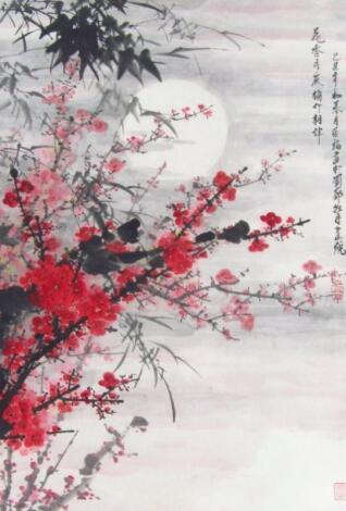 20thC Chinese School. Branches and entwined flowers picked out in red