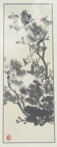 Chinese Qing School. Entwined branches picked out in colours