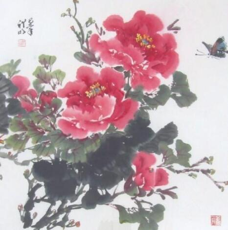 Chinese School. Butterflies and flowers