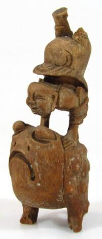 An early 20thC carved Chinese hardwood figure group