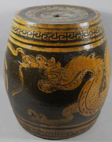 A late Qing period Chinese pottery barrel jardiniere stand