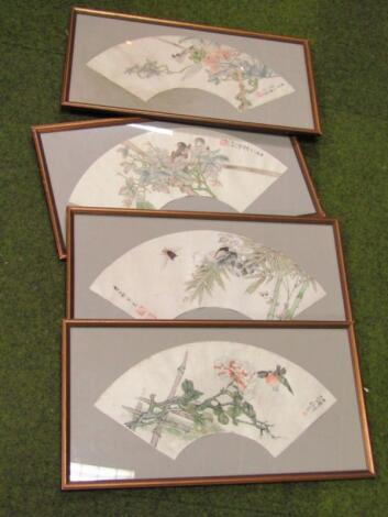 A set of four framed fans by Renbo Nian