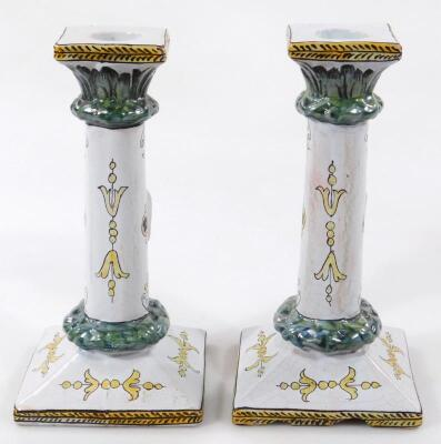 A pair of 19thC faience tin glazed earthenware pottery Napoleonic candlesticks - 3