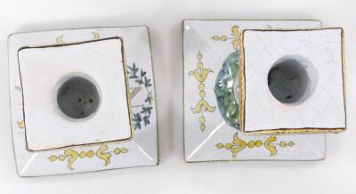 A pair of 19thC faience tin glazed earthenware pottery Napoleonic candlesticks - 5