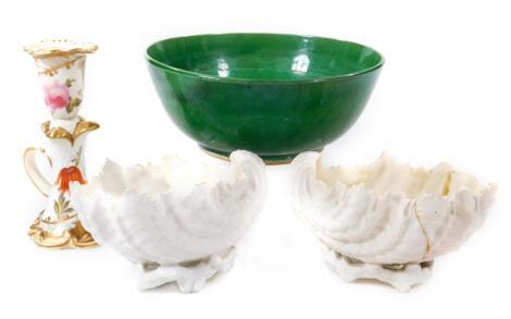 A green glazed pottery bowl