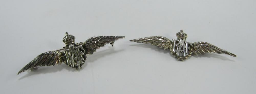 Two RAF silver wings sweetheart brooches - Price Estimate