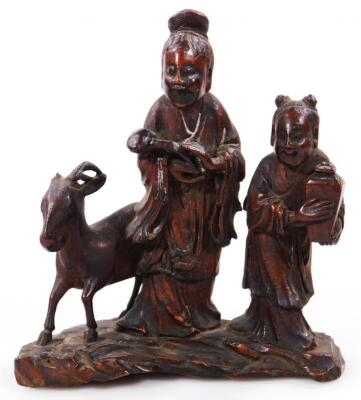 A 19thC Chinese carved softwood figure group - 2