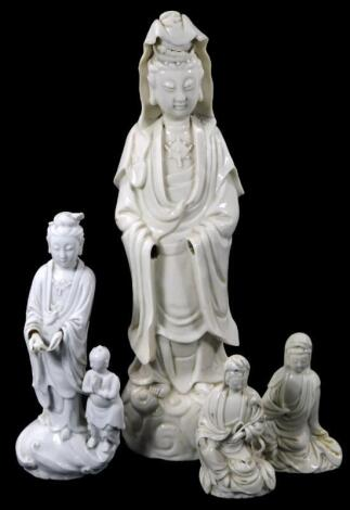 A Chinese blanc de chine porcelain figure