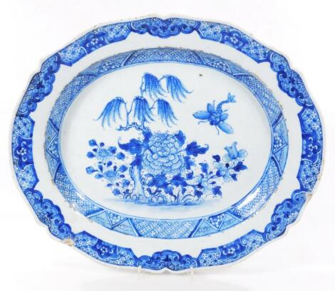 A 18thC Chinese porcelain blue and white export meat platter