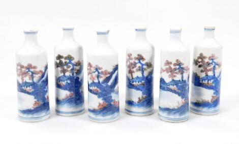 A set of six Chinese porcelain snuff bottles