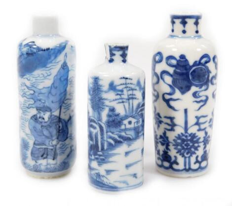 Three various 19thC Chinese blue and white porcelain snuff bottles