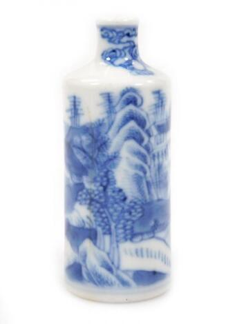 A 19thC Chinese blue and white porcelain snuff bottle