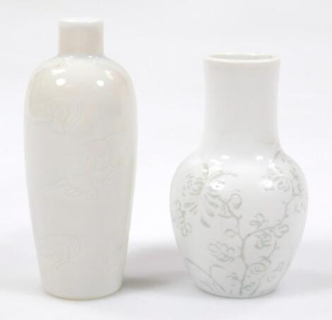 A Chinese blanc de chine porcelain snuff bottle