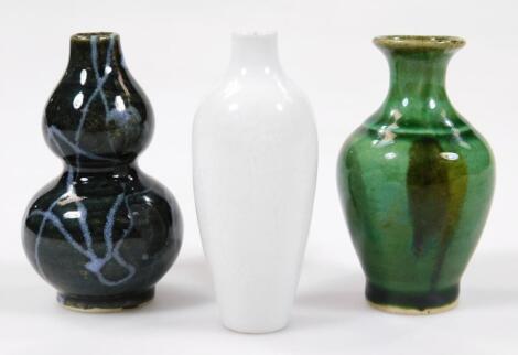 A blanc de chine Chinese porcelain snuff bottle